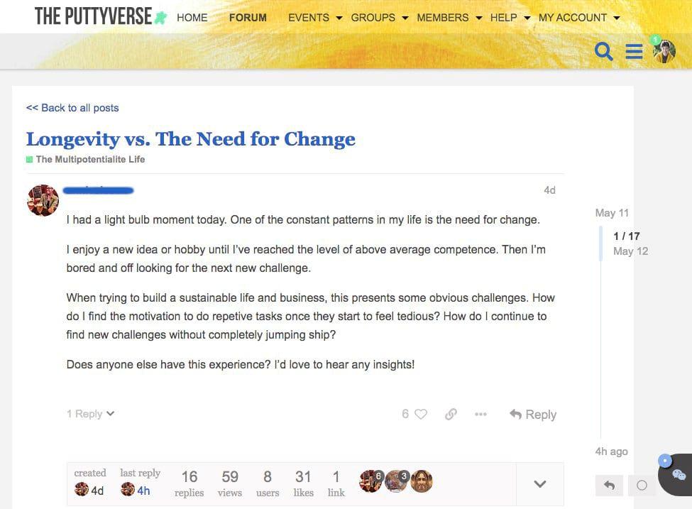 Puttyverse Forum Thread Example